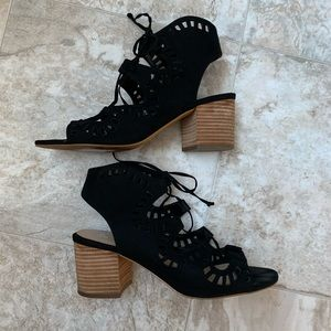 Black Lace-up Block Heels